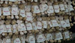 Teddy Bears with names on frocks