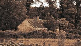 sepia: old Irish cottage