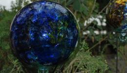 blown glass, blue ball