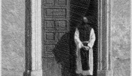 Priest entering church in Rome