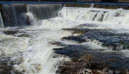 The mill dams and falls at Almonte, Ontario