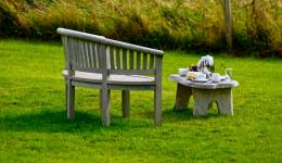 Bench and coffee on the lawn