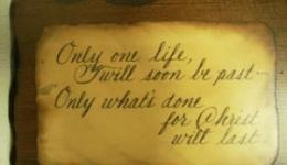Plaque: Only One Life