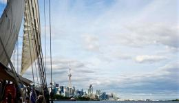Toronto skyline from tall ship Kajama