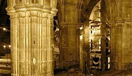 sepia: columns in Glasgow Cathedral