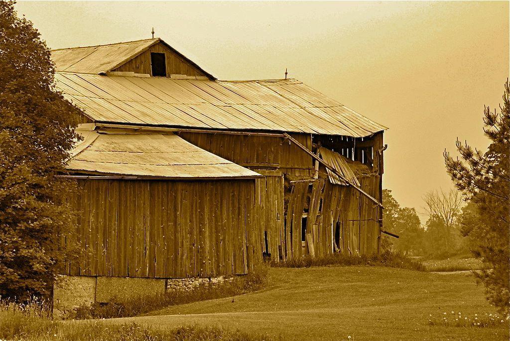 sepia: old barn