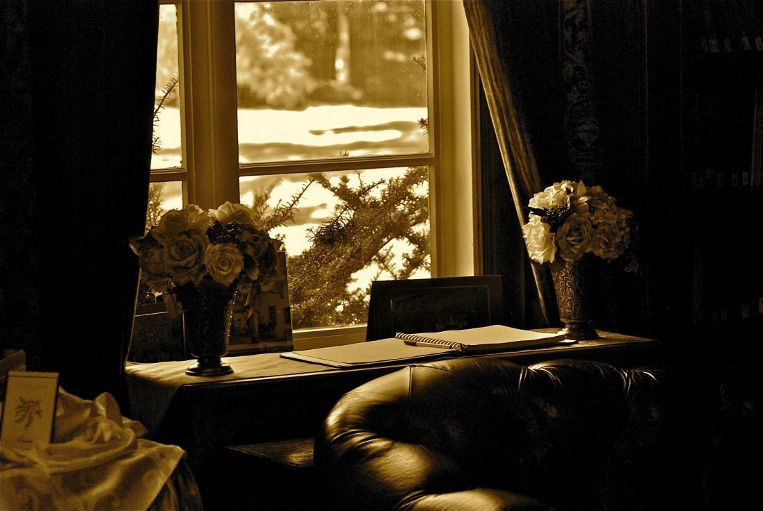 sepia: desk and window